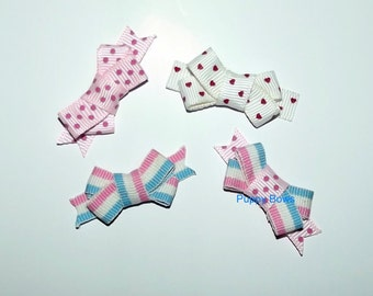 Puppy Bows ~4 pink white red SMALL dog hair pet comb clip barrette ~Usa seller