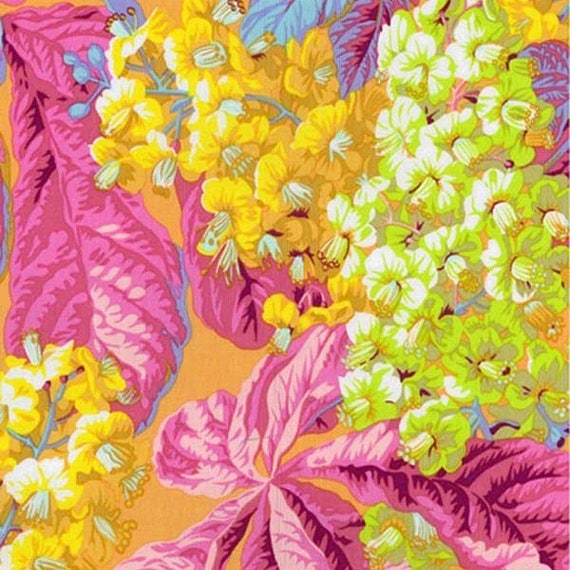 HORSE CHESTNUT YELLOW pwpj084 Philip Jacobs for Kaffe Fassett Collective Sold in 1/2 yd increments