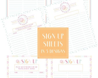 Sign Up Sheets 3 Designs Filled & Unfilled with Editable Text Boxes -- Perfect Printable for Direct Sales, School, Church Events and More!
