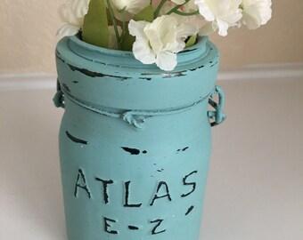 Vase de Atlas Canning Jar récupérées Upcycled fleur en verre vintage porte-bougie