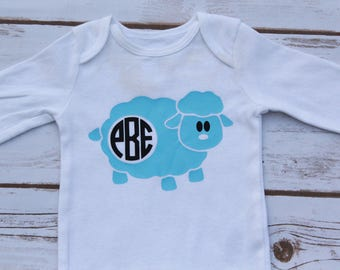 Baby Boy or Girl Easter Bodysuit; Baby Boy or Girl Easter Shirt; Baby Boy Lamb Shirt; Monogrammed Boy Lamb Shirt; Boy Easter Vinyl Shirt