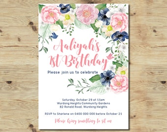 1st Birthday Invitation - Custom Made Invitation - Printable Birthday Invitation - 1st Birthday - Floral Invitation - Vintage Invitation
