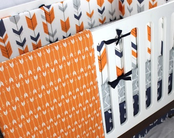Navy Grey And Orange Woodland Crib Bedding