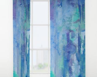 Blue Watercolor Window Curtains - indigo, aqua, coastal artistic, flowing bedroom curtain, bathroom window, home decor