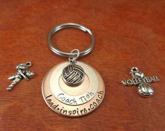 Hand stamped volleyball coach's keychain with saying lead, inspire, coach-Volleyball coach-Volleyball coach gift-Coach's personalized gift