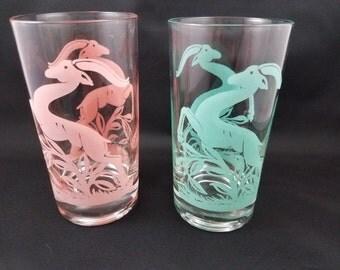Retro Set of 9 vintage antelope art deco drinking glasses