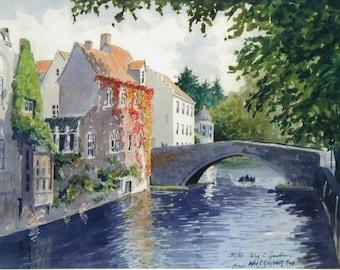"Bruges, Belguim Canal - Watercolor Limited Ed. Art Print  ( 16"" x 20"") painting, landscape, travel"