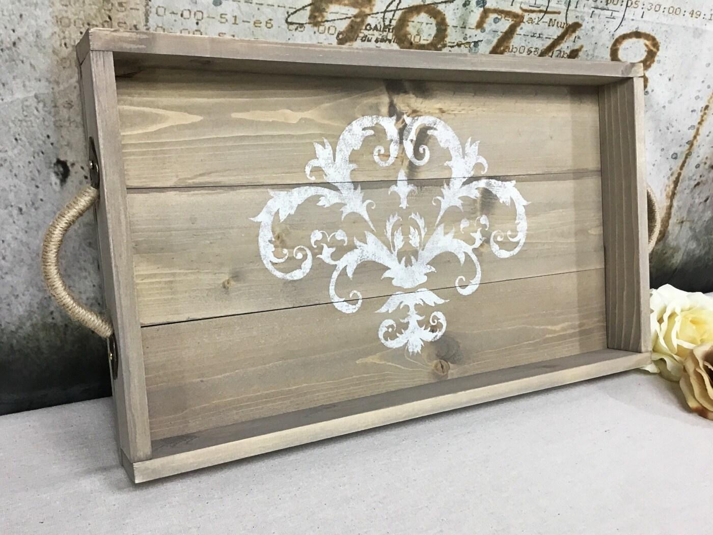 wood serving tray shabby chic decor smoky gray - Decorative Serving Trays