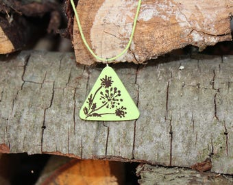 Original handpainted pendant necklace Mother's day December trends Winter Christmas gift ideas Triangle Geometric Green Lime Casual For her