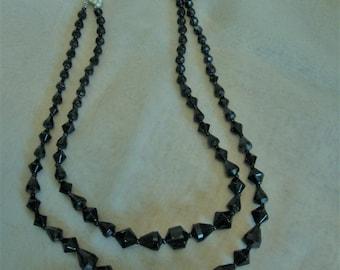 Stunning Vintage 1940's Art Deco Black Glass Rhinestone Necklace Tiered