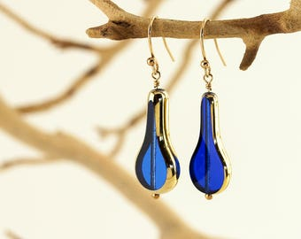 Cobalt Blue 24K Gold Coated Vintage Glass Dangle Earrings on 14K Gold Fill French Wires – Wire Wrapped – Artisan Handmade Jewelry