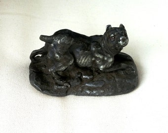 Dog 18th century hand-made pewter
