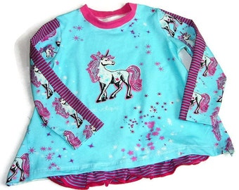 Tunic, long sleeve shirt, shirt, Unicorn girl shirt 122-128