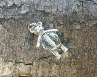 Sterling Silver Rhinestone Moving Teddy Bear Charm Pendant