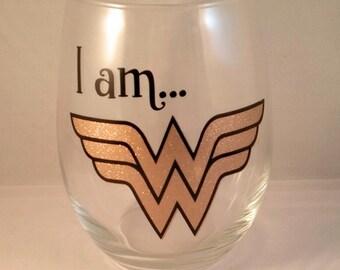 Wonder Woman Stemless Wine Glass-Proud Woman