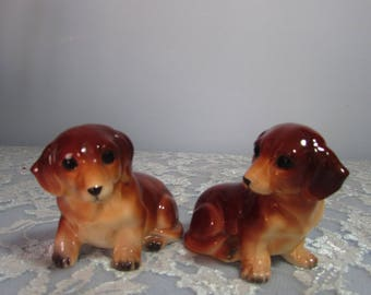 Napcoware Dachshund Salt and Pepper Shakers Labeled and Numbered 1776