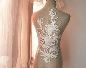 Super Luxury Lace Appliques Cotton Ivory Exquisite Lace Applique For Wedding Dress Grown Bridal Veil Bodice