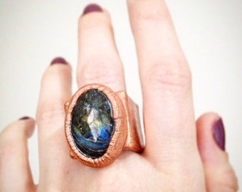 SALE Labradorite Copper Electropated Cube ring, electroplated ring, cube ring, Crystal statement ring, size 5.5 ring, size 5.75 ring