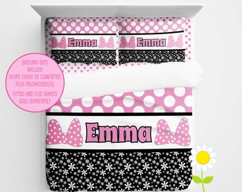 Personalized Bedding Set - Pink Bow Duvet Cover or Comforter - Personalized Duvet Set with Name - Custom Pink and Black Comforter