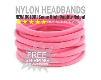 Coral Nylon Headband / Wholesale Spandex Headband / Skinny Very Stretchy One Size Fits most Nylon