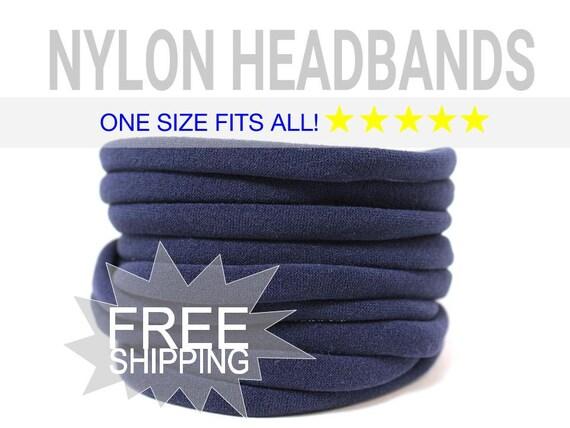 NAVY Nylon Headbands / WHOLESALE Nylon Baby Headband / Wholesale Spandex Headband / Skinny Very Stretchy One Size Fits most Nylon