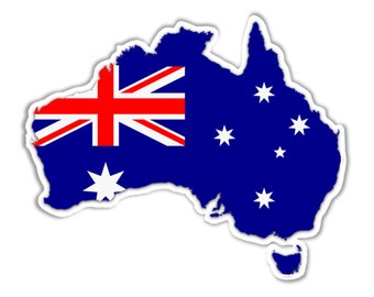 Map of Australia sticker with Australian flag . Weather proof vinyl Approx 220mm x 60mm (4.6 x 3.7 inches)
