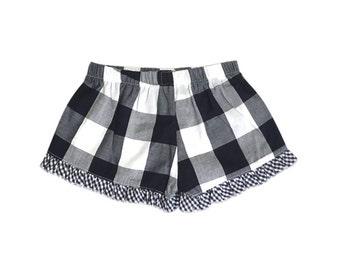 Navy Buffalo Check Boxer wGingham Check Ruffle Short Girls Size 2