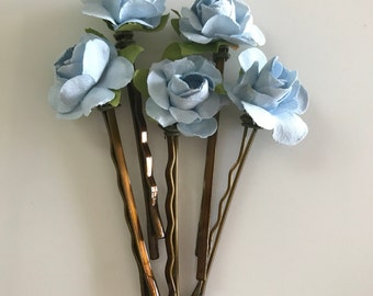 Pale Blue Rose Hair Pins Something Blue Paper Flower Bobby Pins Rustic Bridal Hair Accessories Ethereal Bride  Set of 5