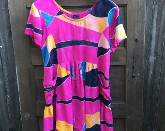 Amazing Vintage 90's Pink Abstract Hippie Print Babydoll Dress size medium