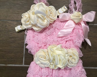 Pink & Cream Lace Petti Romper Set/Lace Petti Romper Baby Thru Toddlers/Photo Prop/Birthday Outfit/Cake Smash Outfit/Pink Romper Set