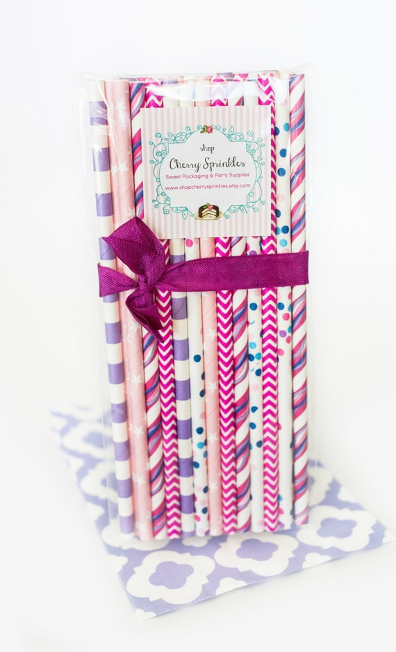 unicorn party pink purple blue paper straws