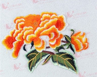 Peony flower applique embroidery patch DIY Accessories applique vintage floral iron on patches