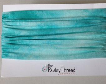 Teal & White Tie Dye Stretchy Cotton Wide Boho Headband