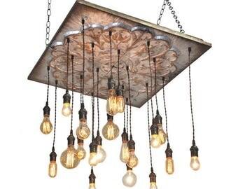 BIG SALE Industrial Tin Chandelier - Industrial Lighting, Metal Tin Lighting, Tin Chandelier, Rustic Lighting, Tuscany lighting