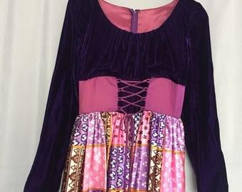 Purple Dress Long Maxi Corest Lacing Velvet Satin Pink Orange Floral Vintage Gown