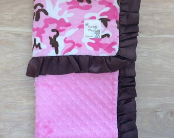 30x36 Baby Blanket- Hot Pink Camouflage