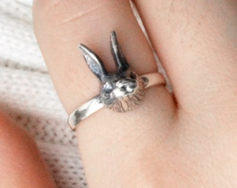 Cute Rabbit Ring, Animal 925 Sterling Silver Ring, Women Girl Lady Ring