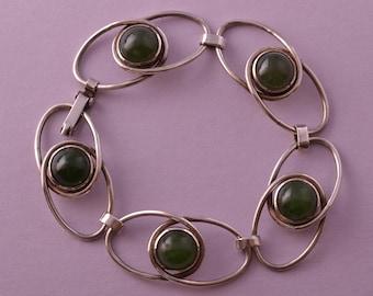 Silver Retro Bracelet With Semi Precious Stones (891v)