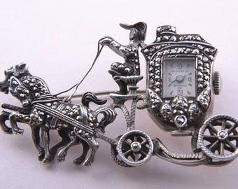 Silver 1950's Horse And Carriage Monarch Brooch / Watch With Marcasite (603g)