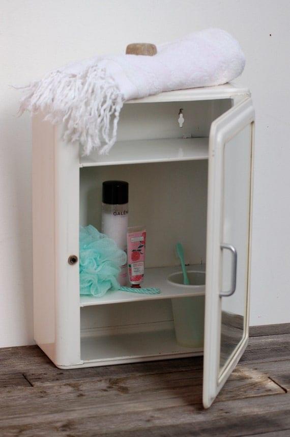 Armoire de toilette en m tal vintage chic armoire pharmacie - Armoire de toilette vintage ...