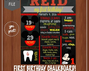 Mickey Mouse 1st Birthday Chalkboard - Mickey First Birthday - Chalkboard Poster - Printable - Mickey - Boy's Birthday - Mickey