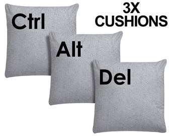 3x Ctrl Alt Del Cushion Keyboard Pillow Geeky Computer Keys Plush Video Game New