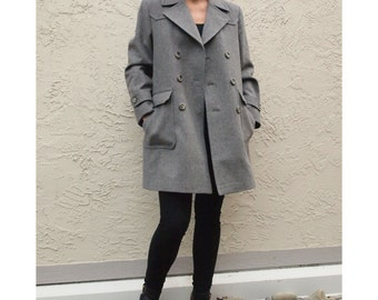 Grey Minimalist Wool Coat with Double Pocket Detail Structured Mod
