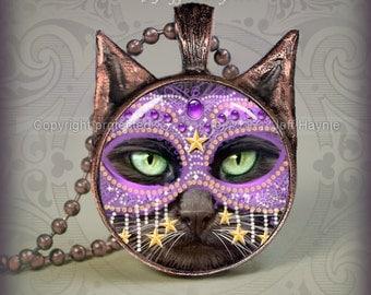 Halloween Black Cat // Black Cat pendant // CAT NECKLACE // black cat jewelry // Black Cat with mask Pendant // Cat Lover // KM6