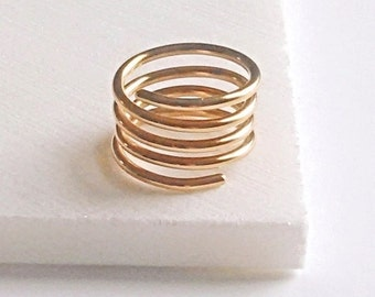 Gold Spiral Coil Ring.Minimal Unisex Bronze Egyptian Ring.Valentine Birthday Christmas Bridemaid 8th Anniversary Gift Bronze Men Man Jewelry