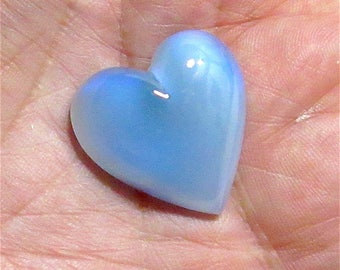 2 Vintage Blue Opalescent Glass Hearts Cabochons