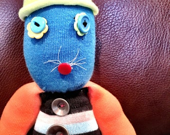 Stuffed Sock Critter; Quirky Handmade Sock Animal Made from Recycled Materials; OOAK  (Punchero)
