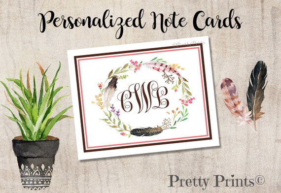 Boho Note Cards - Monogrammed - Note Cards - Personalized Stationery, Wedding, Notecards, Gift for Her, Thank You Notes - Monogram