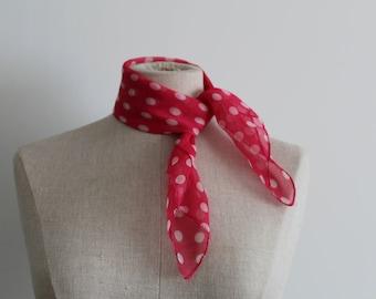 Pink Polka Dot Head Scarf Kerchief
