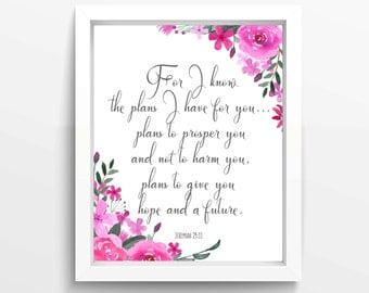 For I Know The Plans I Have For You, Jeremiah 29 11, Nursery Wall Art Christian, Biblical Quotes, Bible Gifts, Bible Scripture, Girl Art